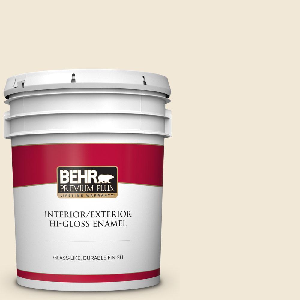 Behr Premium Plus 5 Gal 13 Cottage White Hi Gloss Enamel Interior Exterior Paint 805005 The Home Depot