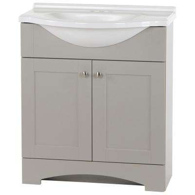 Del Mar 31 in. W x 18.78 in. D x 36.38 in. H Bath Vanity in Gray w/ Cultured Marble Vanity Top in White w/ White Basin