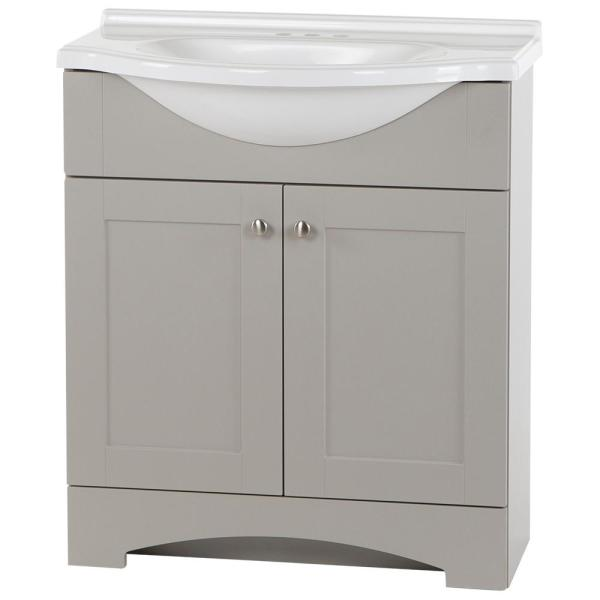Del Mar 31 in. W x 19 in. D Bath Vanity in Gray with Marble Vanity Top in White with White Sink