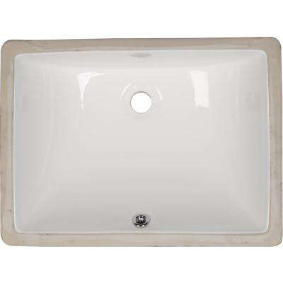 Rectangle Undermount Porcelain Ceramic Bathroom Sink in White