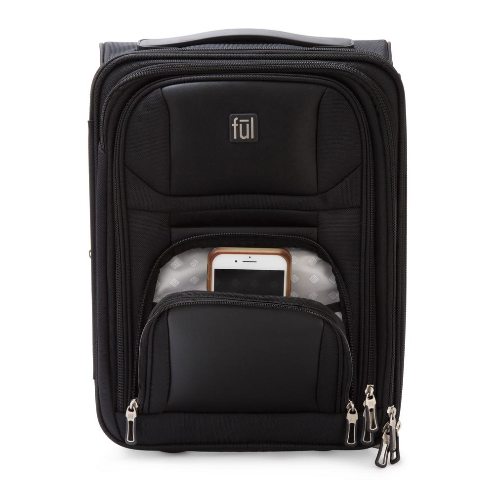 Ful Crosby Carry On Luggage 16.5 In. Black Narrow Profile For Underseat  Storage Faux