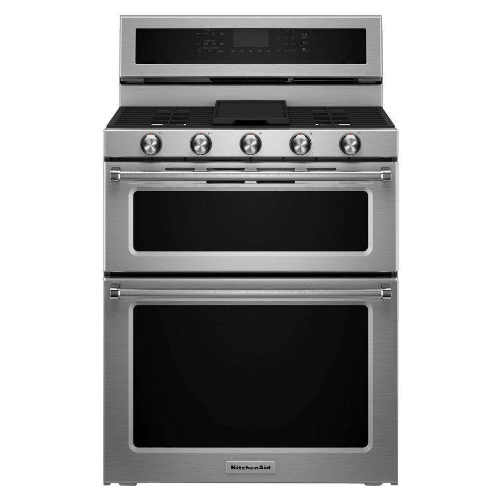 kitchenaid 30 in 6 0 cu ft double oven gas range with self