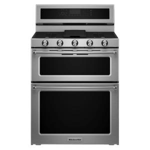 KitchenAid 30 inch 6.0 cu. ft. Double Oven Gas Range with Self-Cleaning Convection Oven in Stainless Steel by KitchenAid