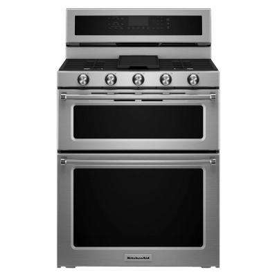 6.0 cu. ft. Double Oven Gas Range with Self-Cleaning Convection Oven in Stainless Steel