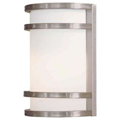 1-Light Brushed Stainless Steel Outdoor Wall Lantern Sconce