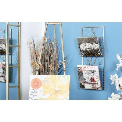 Gold 2-Tier Wall Shelf with Branch-Inspired Design
