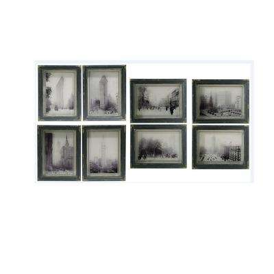 Distressed Black City Scenes Wall Art (Set of 8)