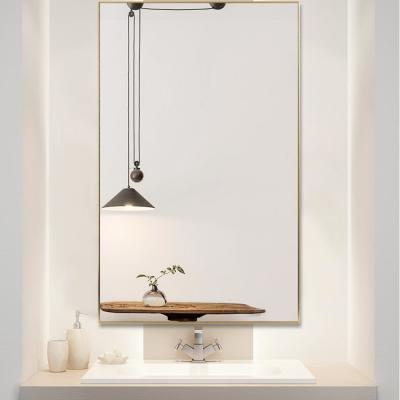 Large Rectangle Gold Hooks Modern Mirror (51 in. H x 31 in. W)