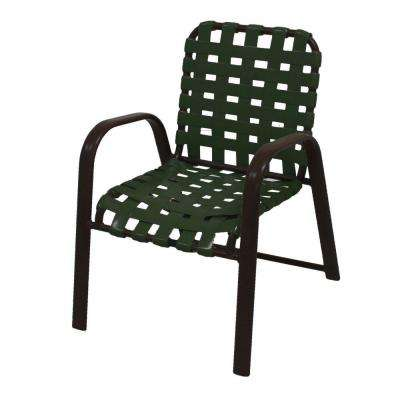Marco Island Dark Cafe Brown Commercial Grade Aluminum Patio Dining Chair with Green Vinyl Cross Straps (2-Pack)