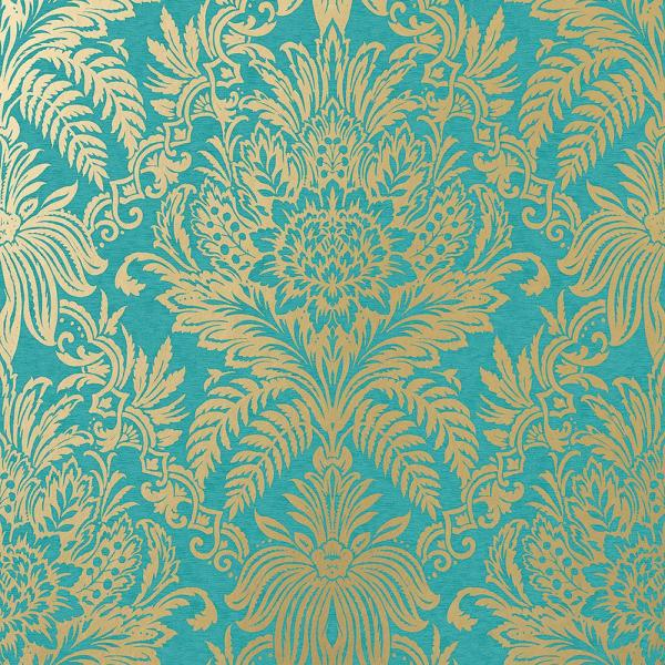 Crown 56 4 Sq Ft Signature Teal Damask Wallpaper M1064