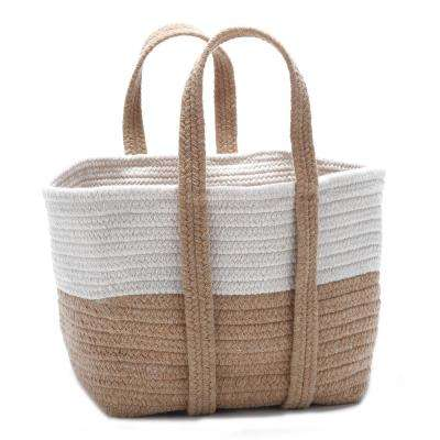 2-Tone 16 in. x 14 in. x 16 in. Wool-Blend Storage in Tote in Ever Gold