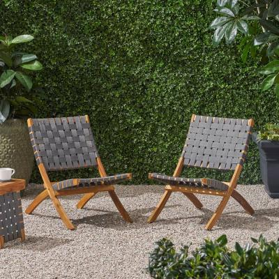 Huntsville Brown Patina Foldable Wood Outdoor Lounge Chair (2-Pack)