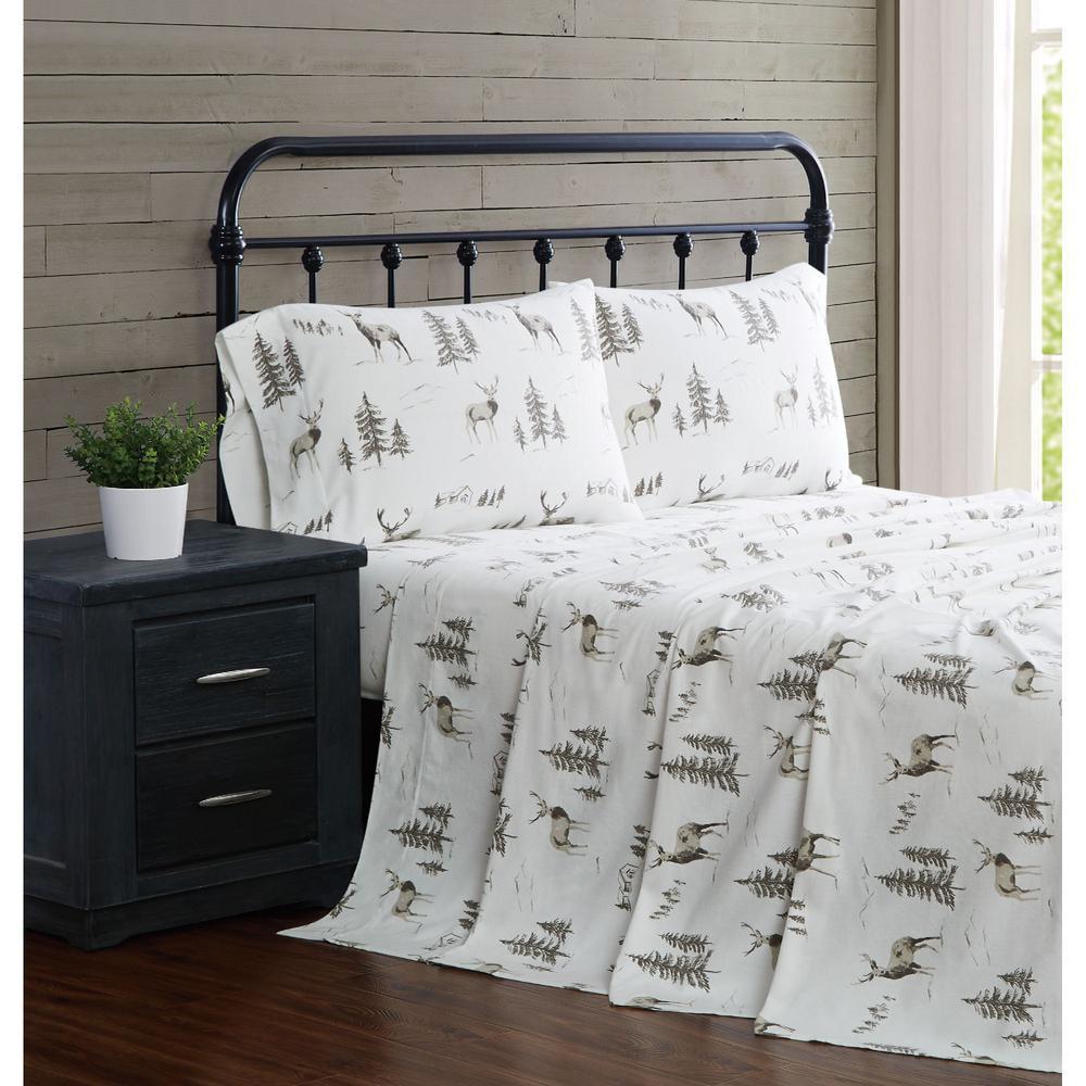 Woodlands 3 Piece Multi-Colored  Cotton Flannel Twin Sheet Set