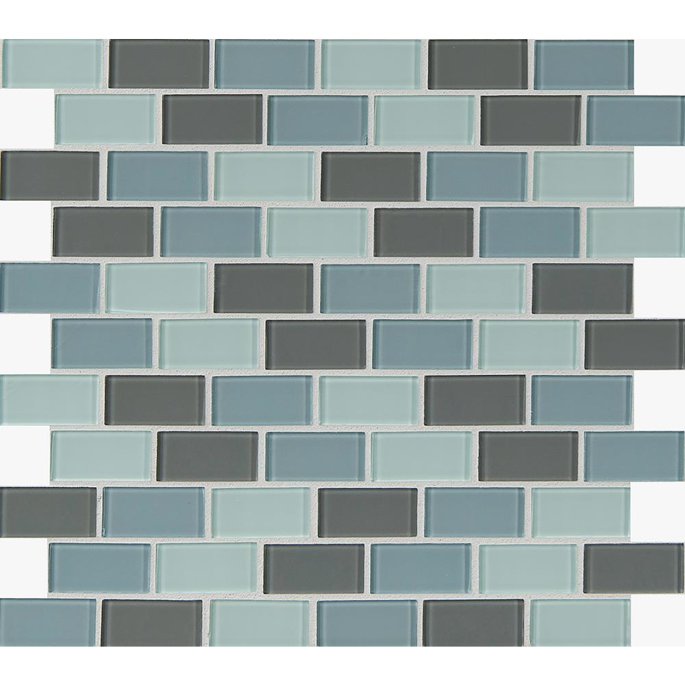 Ms international majestic ocean 12 in x 12 in x 4 mm for Installing glass tile with mesh back