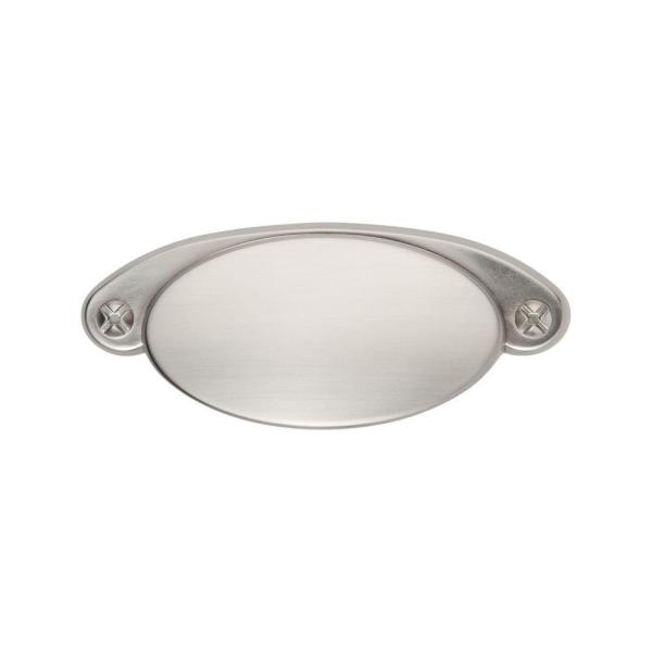 Ovaline 3-1/2 in. Center-to-Center Satin Nickel Cup Pull