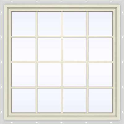 47.5 in. x 47.5 in. V-4500 Series Fixed Picture Vinyl Window with Grids in Yellow