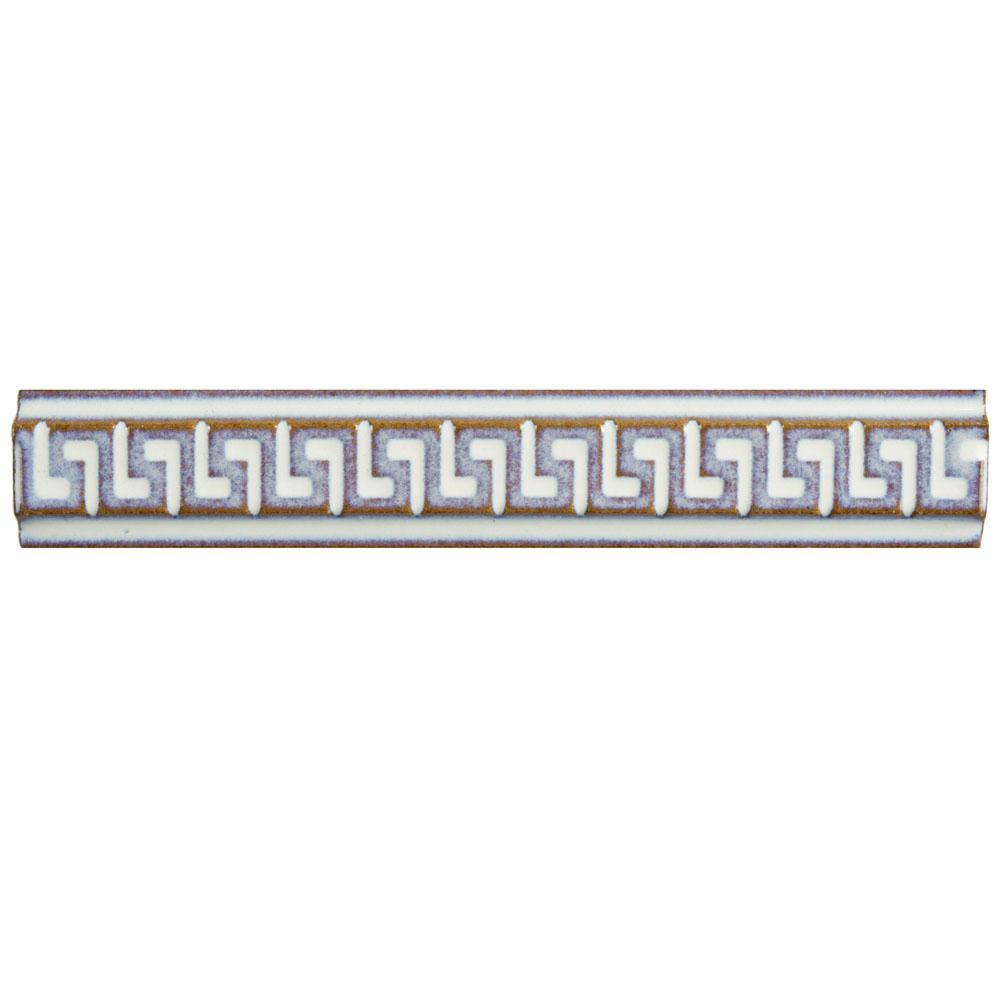 Merola Tile Essence Greek Key Ivory 1 inch x 5-7/8 inch Porcelain Listello Wall Trim Tile by Merola Tile