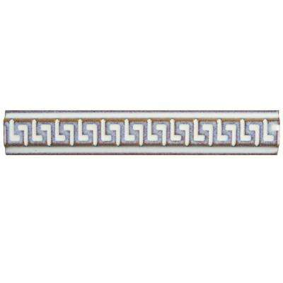Essence Greek Key Ivory 1 in. x 5-7/8 in. Porcelain Listello Wall Trim Tile