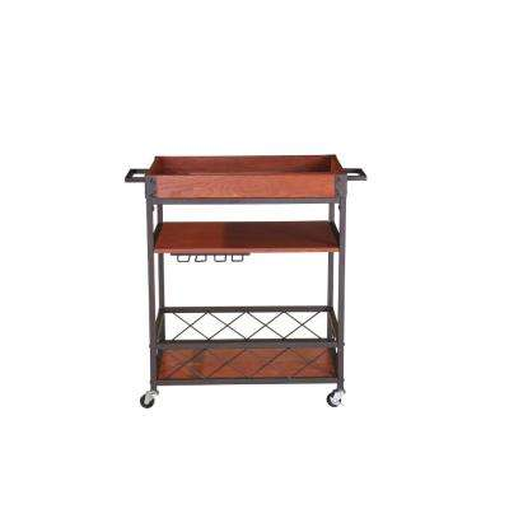 Brown Kitchen Mobile Serving Bar Cart