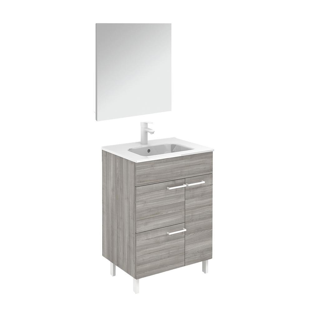 Elegance 23.6 in. W x 18.0 in. D x 33.0 in. H Bath Vanity in Sandy Grey with Ceramic Vanity Top in White with Mirror