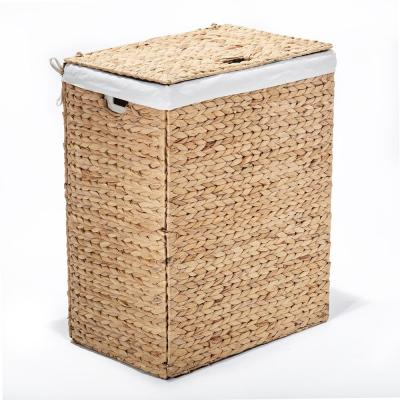 Water Hyacinth Brown Collapsible Wicker Portable Laundry Hamper with Canvas Laundry Bag and Lid
