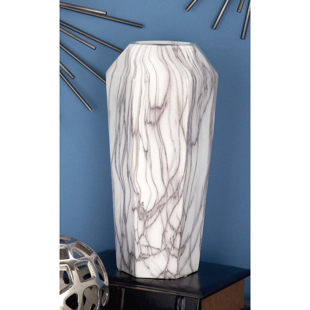 LittonLane Litton Lane 14 in. White and Gray Marble Paneled Decorative Vase