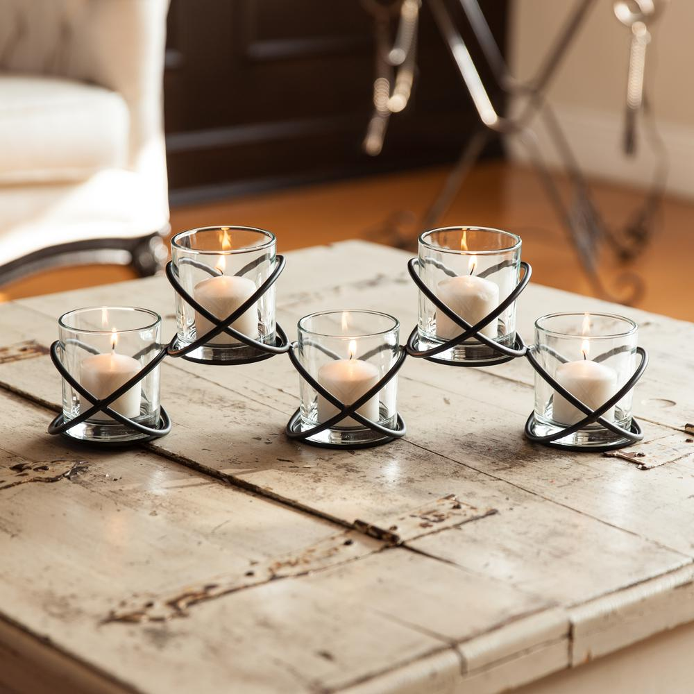 Orbits Black Metal Multiple Candleholder with Five Glass Cups