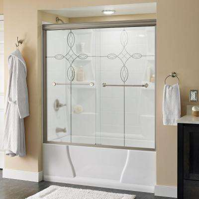 Mandara 60 in. x 58-1/8 in. Semi-Frameless Sliding Bathtub Door in Nickel with Tranquility Glass