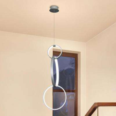 Capella 36-Watt Silver Integrated LED Adjustable Hanging Pendant with Multi-Ring Modern 34 in. x 16 in.