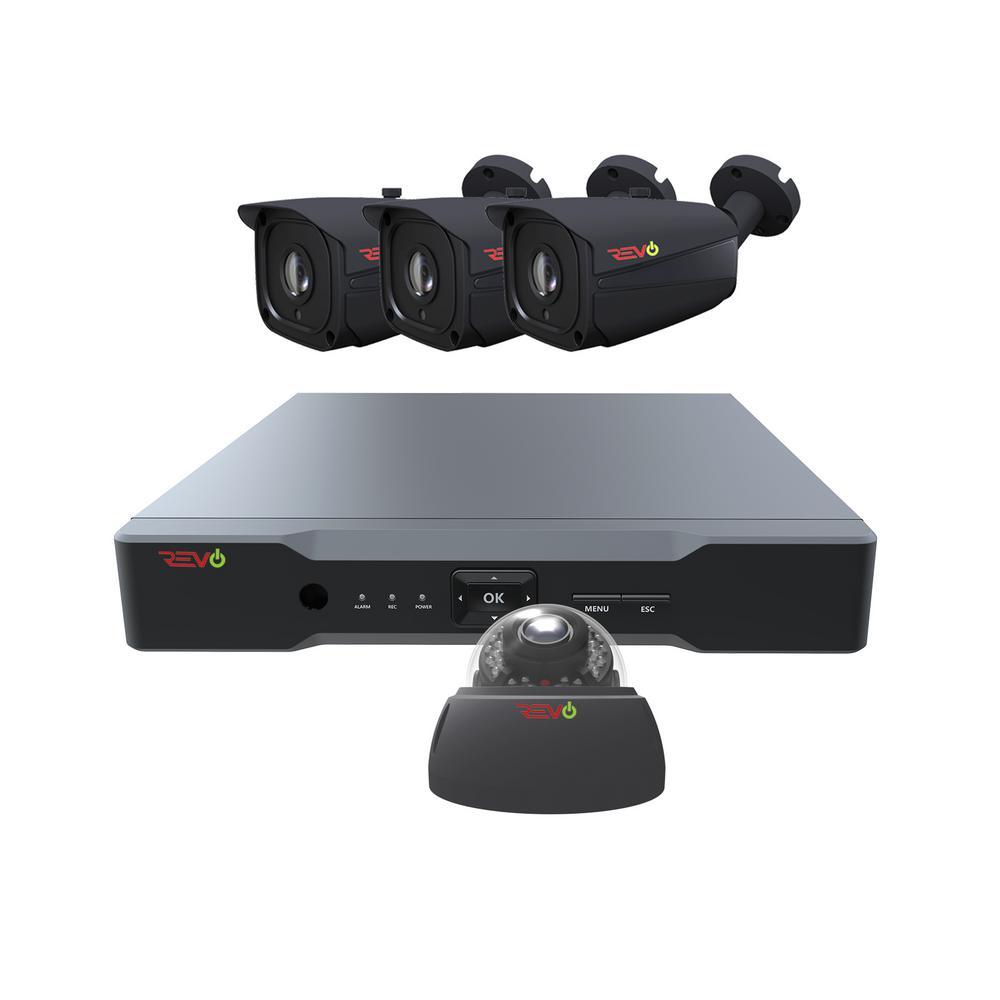 Revo Aero HD 4-Channel 5MP 1TB Surveillance System with 4 Wired Cameras