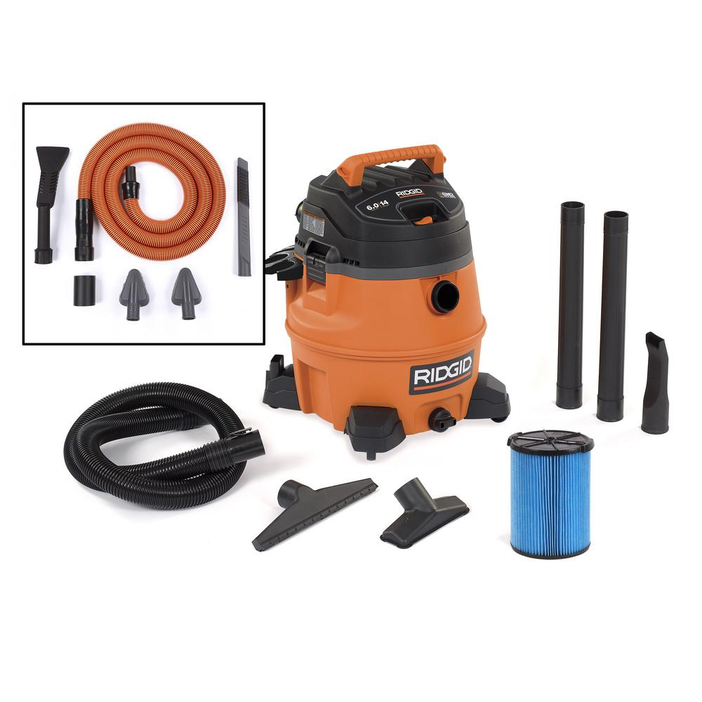 RIDGID 14 Gal. 6.0-Peak HP Wet Dry Vac with Auto Detail Kit