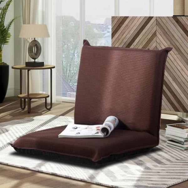 19.5 in. Brown Cotton 2-Seater Adjustable Floor Sleeper Chair