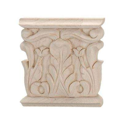 3-1/8 in. x 3 in. x 1/2 in. Unfinished Hand Carved Solid American Hard Maple Acanthus Wood Onlay Capital Wood Applique
