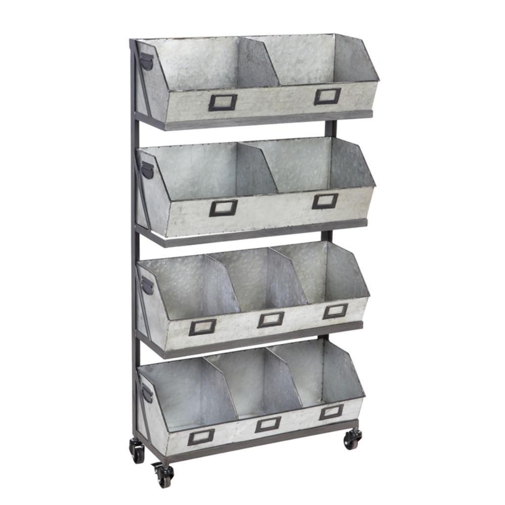 Large 12-Metal Storage Bin with Black Display Rack