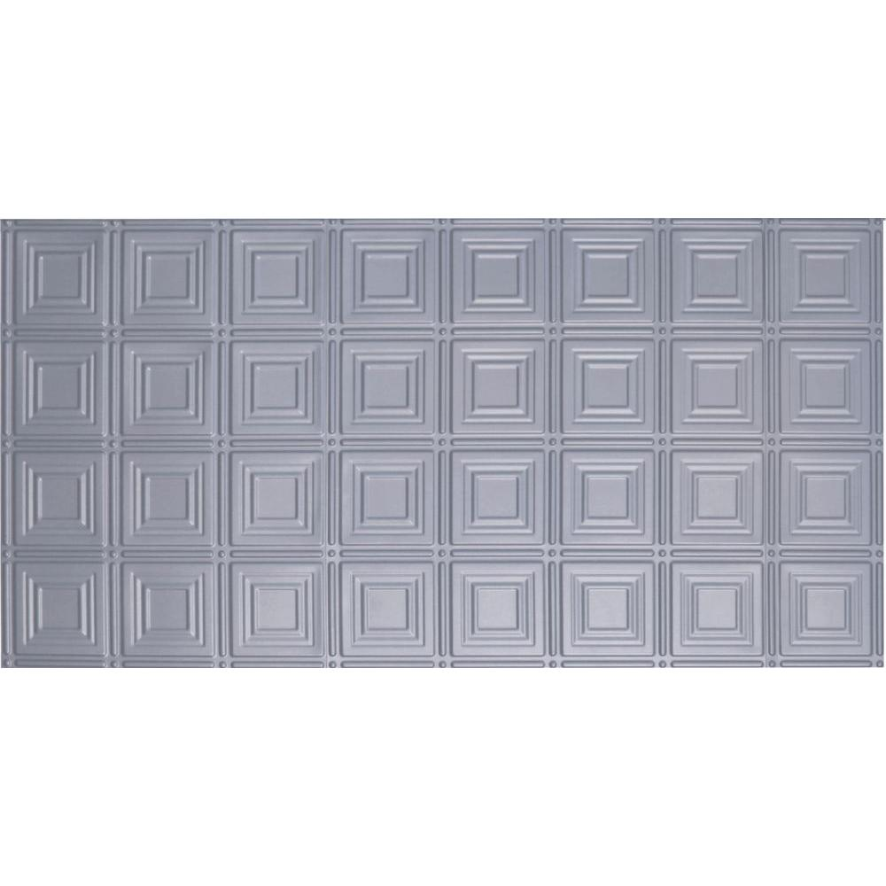 Global Specialty Products Dimensions Faux 2 ft. x 4 ft. Glue-up Tin Style Nickel Ceiling Tile for Surface Mount