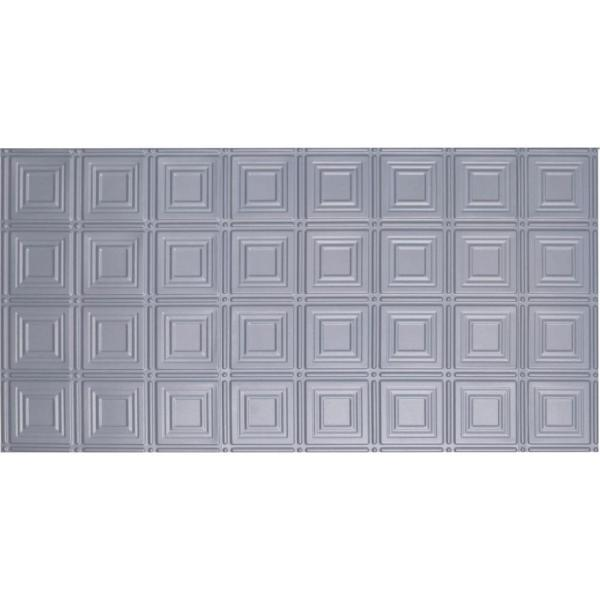 Global Specialty Products Dimensions Faux 2 ft. x 4 ft. Tin Style Ceiling and Wall Tiles in Nickel