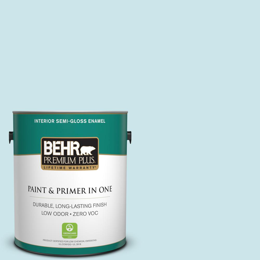 1-gal. #530C-2 Clear Water Zero VOC Semi-Gloss Enamel Interior Paint