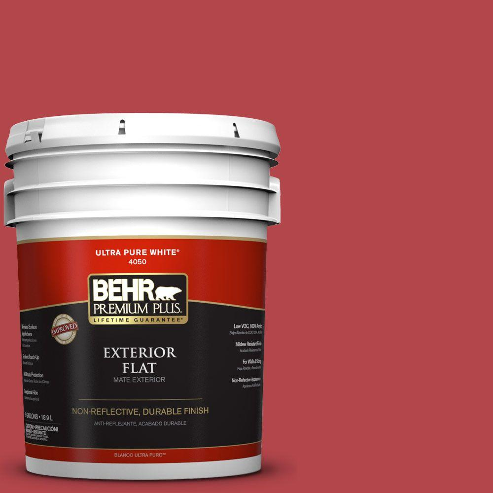 5-gal. #HDC-SM14-10 Intrigue Red Flat Exterior Paint