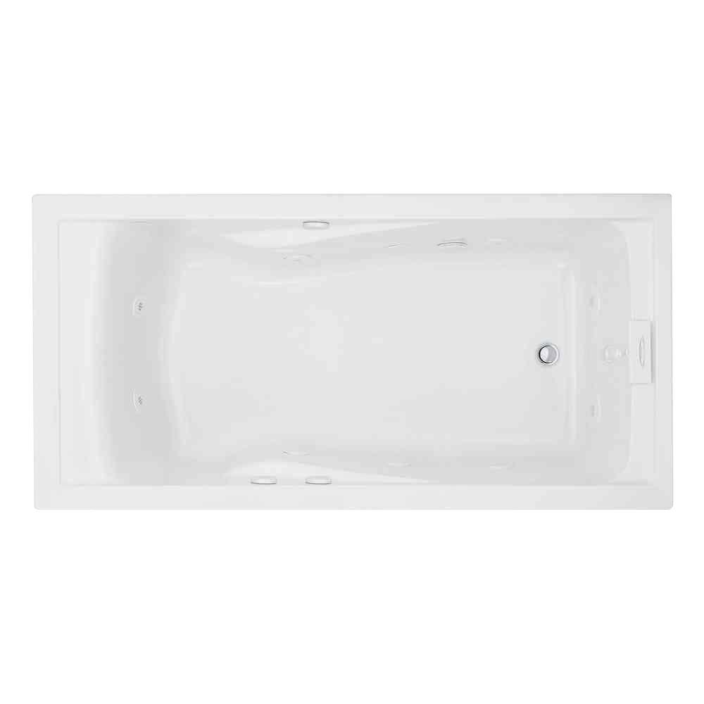 Acrylic Rectangular Drop In Whirlpool Bathtub In White