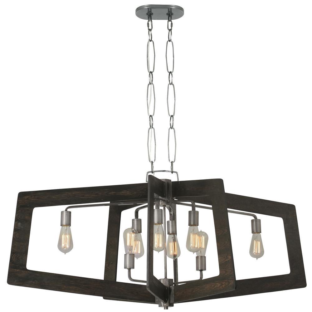 Lofty 8-Light Faux Zebrawood and Steel Oval Linear Pendant