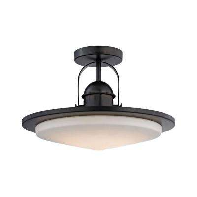 Montebello 1-Light Oiled Bronze and Opal Glass LED Semi Flush Mount