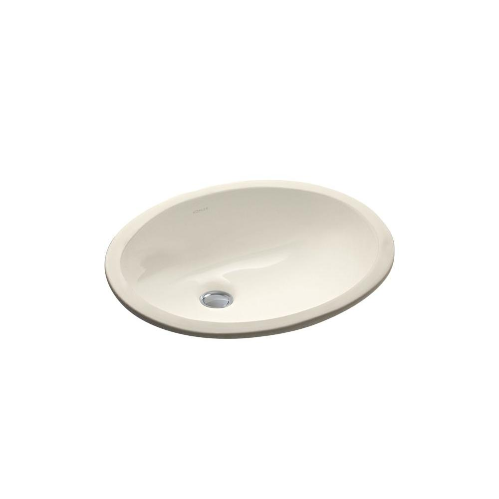 Caxton Under-Mounted Vitreous China Bathroom Sink in Almond with Overflow Drain