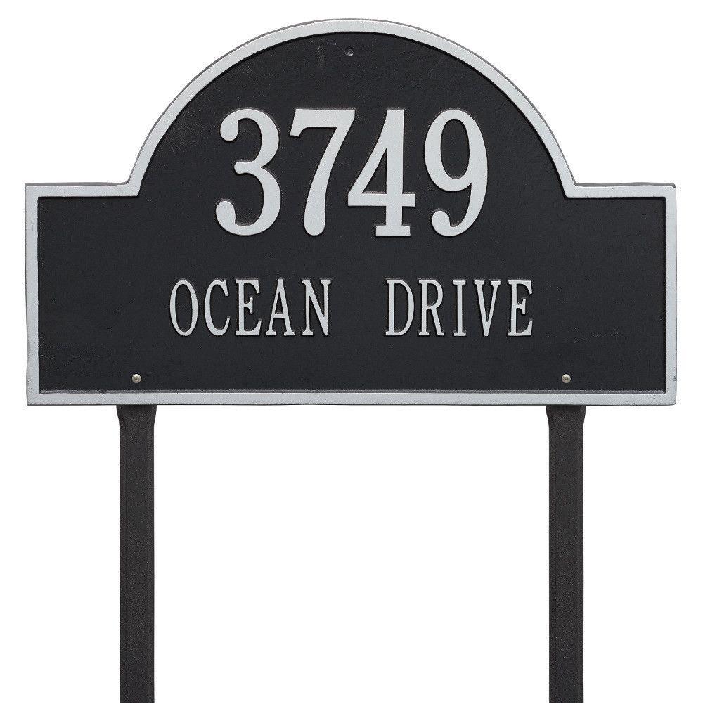 Arch Marker Estate Black/Silver Lawn 2-Line Address Plaque