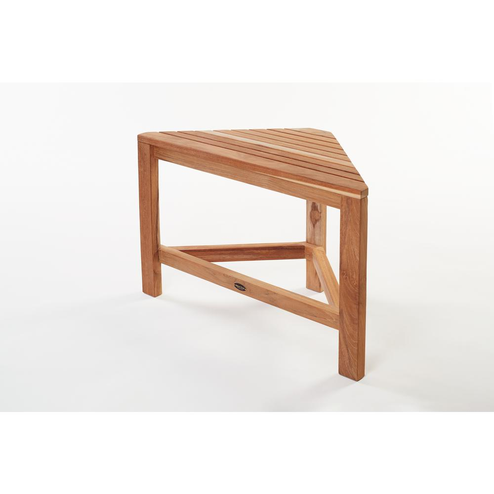 24 in. W Gala Corner Bathroom Shower Bench in Natural Teak