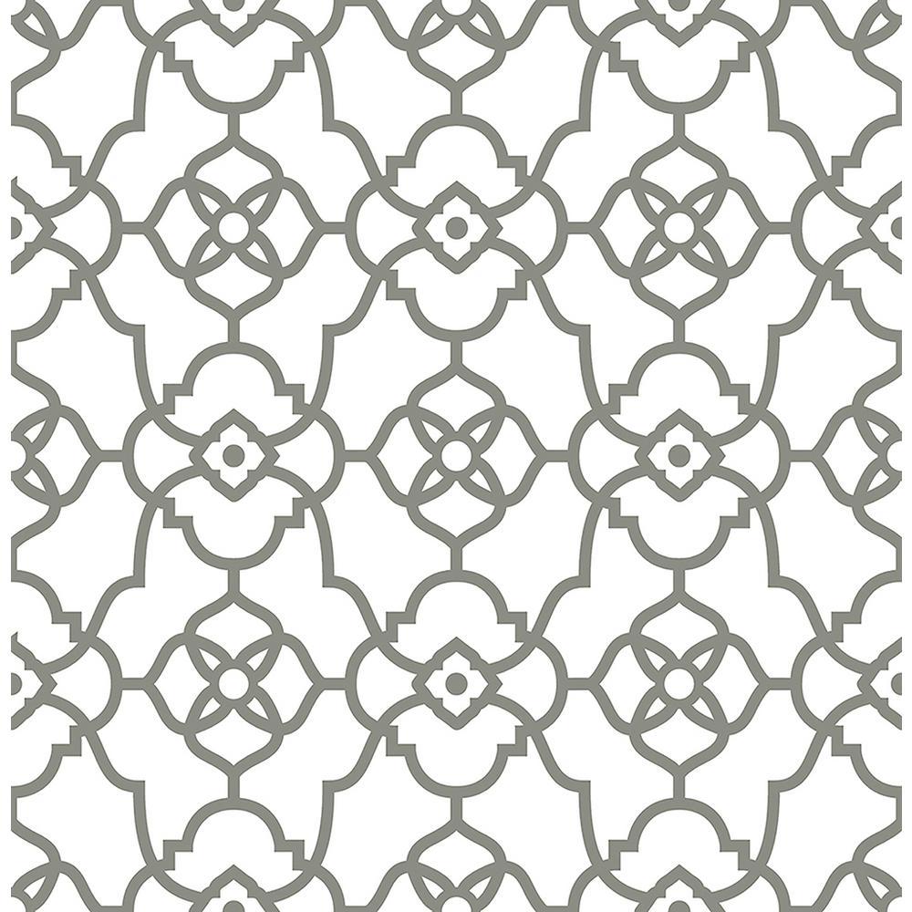 A-Street Atrium Grey Trellis Wallpaper Sample 2702-22720SAM