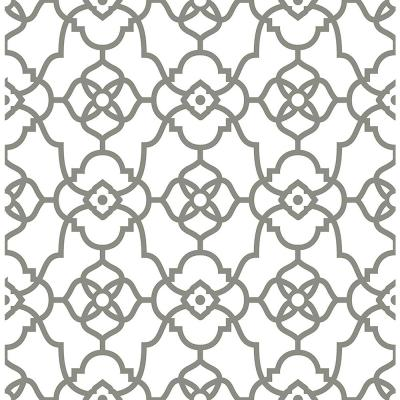 Atrium Grey Trellis Paper Strippable Roll Wallpaper (Covers 56.4 sq. ft.)