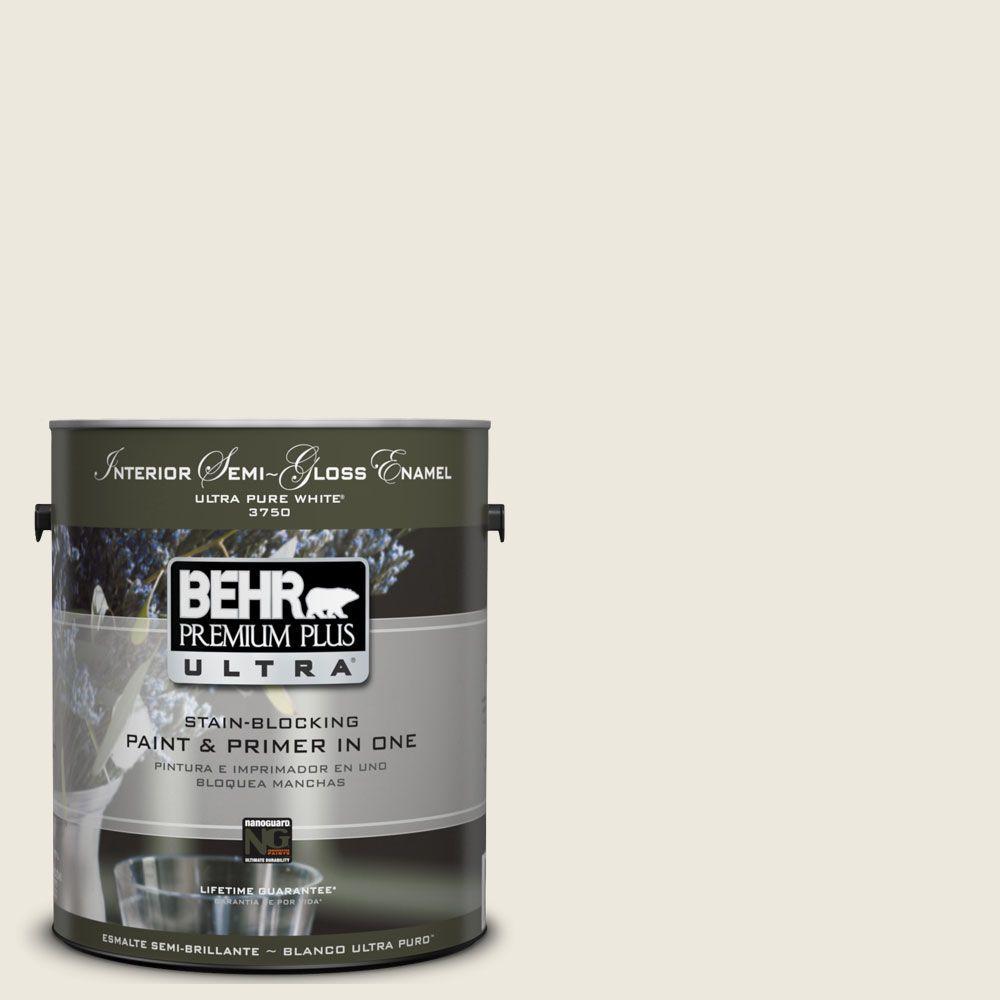 BEHR Premium Plus Ultra 1-gal. #UL190-13 Ivory Palace Interior Semi-Gloss Enamel Paint