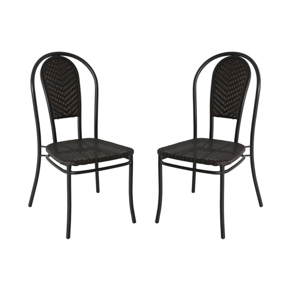 Hampton Bay Andrews Patio Wicker Chair (2 Pack)