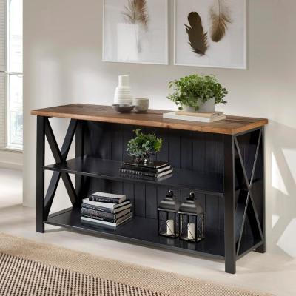 30 in. Black/Reclaimed BarnWood Wood 2-shelf Accent Bookcase