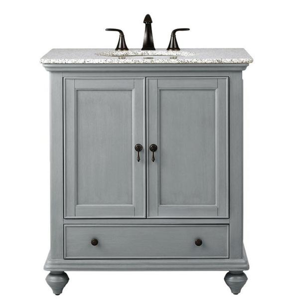 Home Decorators Collection Newport 31 In W X 21 1 2 In D Bath Vanity In Pewter With Granite Vanity Top In Grey 9085 Vs31h Pg The Home Depot